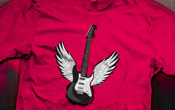 Winged Guitar Rock Tees
