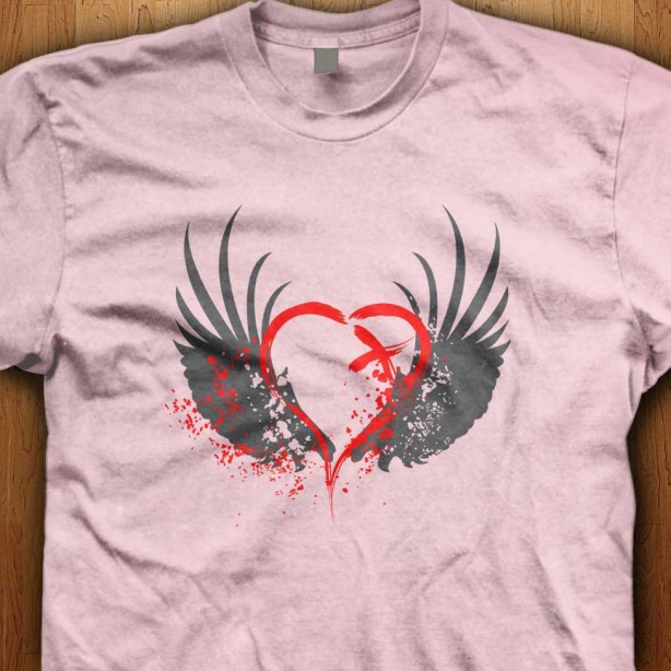 Emo-Blood-Wings-Pink-Shirt