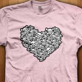 Emo-Skull-Heart-Pink-Shirt