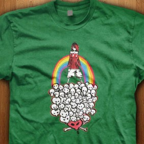 Rainbow-Girl-Skull-Green-Shirt