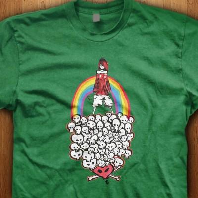 Rainbow-Girl-Skull-Green-Shirt