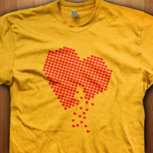 Digital-Hearts-Yellow-T-Shirt