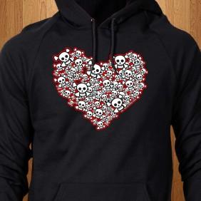 Emo-Skull-Heart-Black-Hoodie